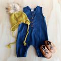 Midnight Blue Button Up Henley Romper - Navy Blue Toddler Overalls