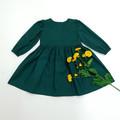 Girls Long Sleeve Dress - Emerald Green Christmas Dress - Toddler Tea Dress