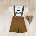 Boys Cinnamon Suspender Shorts - Baby Coming Home Outfit - Pants With Braces