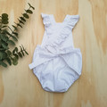 White Linen romper, Baby girl playsuit, toddler romper, baby girl outfit, newbor
