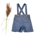 Boys Blue Chambray Suspender Shorts - Page Boy Wedding Pants - Cake Smash Outfit