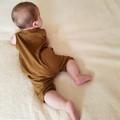 Cinnamon Button Up Henley Romper -Brown Unisex Baby Jumpsuit