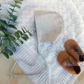 Grey Linen Baby Bonnet - Gender Neutral Baby Shower Gift - Christening Bonnet