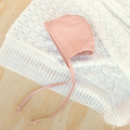 Blush Pink Linen Baby Bonnet - Toddler Christening Hat - Newborn Baby Gift
