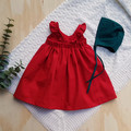 Baby Sizes Crimson Red Flutter Sleeve Dress - Boho Baby Dress - Christmas Outfit