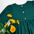 Girls Long Sleeve Dress - Emerald Green Christmas Dress - Toddler Tea Dress