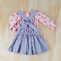 Girls Grey Linen Suspender Skirt - Toddler Pinafore Skirt