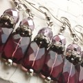 Stunning Purple Faceted Glass Pillow Lilac Czech Crystal Diamante Earrings