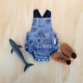 Nautical Baby Boys Romper - Toddler Boys Playsuit - Ships and Boats Overalls