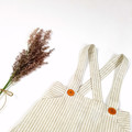 Boys Natural Cream Striped Linen Suspender Shorts - Page Boy Outfit