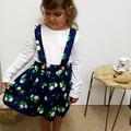 Girls Navy Floral Suspender Skirt - Toddler Pinafore Dress