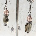 Stunning Smokey Grey Faceted Glass Pillow Peach Czech Crystal Diamante Earrings