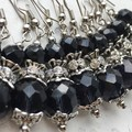 Stunning Jet Black Grey Blue Czech Crystal Glass Diamante Earrings