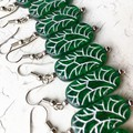 Beautiful Emerald Green Czech Glass Slab Silver Deco Flower Pattern Earrings