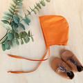 Burnt Orange Baby Bonnet - Unisex Toddler Hat - Cotton Infant Cap