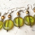 Transparent Olive Green Czech Glass Slab Beaded Earrings