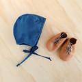Midnight Blue Baby Bonnet - Unisex Toddler Hat - Christening Cap