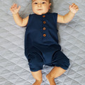 Midnight Blue Button Up Henley Romper - Navy Blue Toddler Overalls