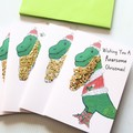 4 Dinosaur Christmas Cards, Wishing You A Roarsome Christmas