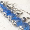Stunning Light Sapphire Blue Czech Crystal Glass Faux Pearl Earrings