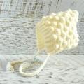 Cream/Off White Crochet Bobble Baby Pixie Bonnet Beanie Hat 0-3 months