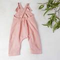 Blush Pink Linen Kids Overalls - Baby Girls Playsuit - Toddler Jumpsuit