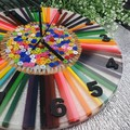 Tick Tock - Colour me Happy Pencil and Buttons Resin clock - silent motion
