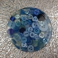 Round Small Coasters - BLUE Buttons - Drink or a Paperweight - SINGLE- Resin