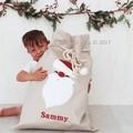 Santa Sack Snowman - Natural with Holly