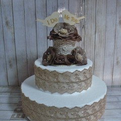 "Rustic Lace, Petal & Pearl Roses ""I Do Me Too"" Wooden Birds Wedding Cake Topper"