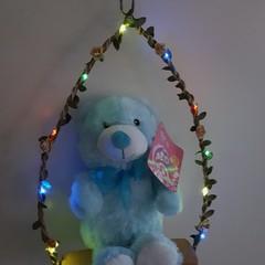 Teddy On a Fairy Light Swing - Blue Teddy & Multi-coloured Fairy Lights