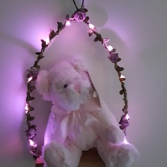 Teddy on a Fairy Light Swing - Pink Teddy & Pink Fairy Lights