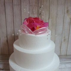 Wedding Cake Topper Frangipani Flowers & Organza Ribbons - Dark Pink