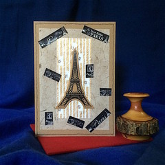 'Eiffel Tower' Hand Made All Occasion Blank on Brown Kraft Card