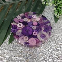 Round Small Coasters - Purple Buttons - Drink or a Paperweight - SINGLE- Resin