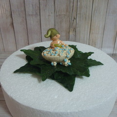 """Not So Shy"" Gnome in a Bubble Bath Birthday / Christening Cake Topper"