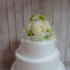 Wedding Cake Topper Cream & Lime Green Peony Roses & Organza Ribbons