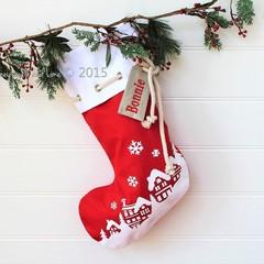 Christmas Stocking Christmas Village - Red