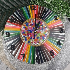 Tick Tock - Pencil me in - Coloured Pencil Buttons Resin clock - silent motion