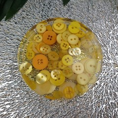 Pattern Weight - Yellow Buttons - Round - Small- Drink or a Paperweight - SINGLE