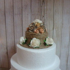 Rustic Burlap / Hessian  Roses & Twine Wedding Cake Topper
