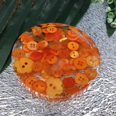 Round Small Coasters - Orange Buttons - Drink or a Paperweight - SINGLE- Resin