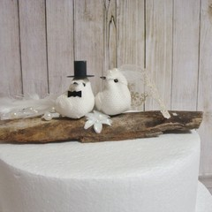 Rustic Burlap Cream Bride & Groom