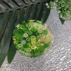 Round Small Coasters - Green Buttons - Drink or a Paperweight - SINGLE- Resin