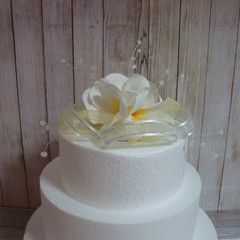 Wedding Cake Topper Frangipani Flowers & Organza Ribbons - Yellow