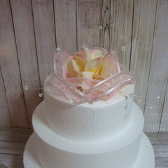 Wedding Cake Topper Frangipani Flowers & Organza Ribbons - Pale Pink