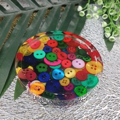 Patter Weight - Multicolour Button - Small Round coaste or Paperweight - SINGLE