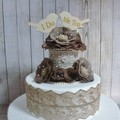"""Rustic Lace, Petal & Pearl Roses """"I Do Me Too"""" Wooden Birds Wedding Cake Topper"""