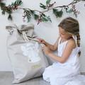 Santa Sack Snowman - White with Flowers
