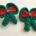 Christmas Outfit Hair Elastic / Bows / Ponytail (Matching Set of Two)